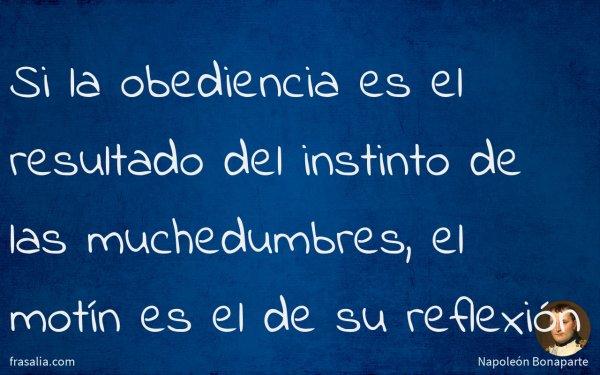 Si la obediencia es el resultado del instinto de las muchedumbres, el motín es el de su reflexión