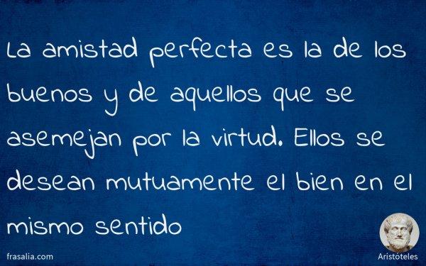 La amistad perfecta es la de los buenos y de aquellos que se asemejan por la virtud. Ellos se desean mutuamente el bien en el mismo sentido
