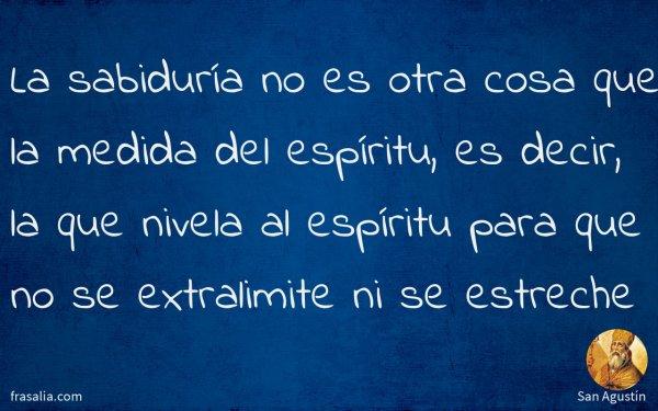 La sabiduría no es otra cosa que la medida del espíritu, es decir, la que nivela al espíritu para que no se extralimite ni se estreche