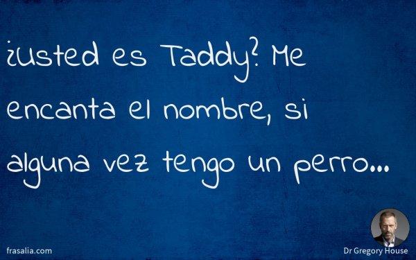¿Usted es Taddy? Me encanta el nombre, si alguna vez tengo un perro…